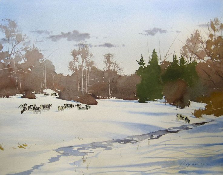 Watercolor Winter Snow Scenes