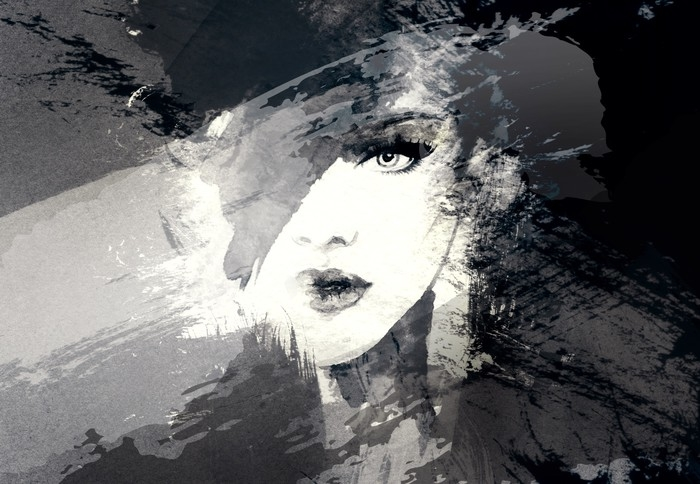700x484 Beautiful Woman Face. Abstract Fashion Watercolor Illustration