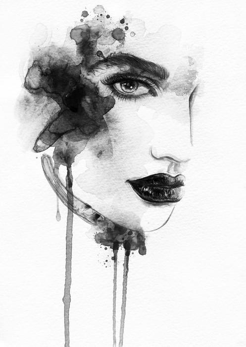 497x700 Beautiful Woman Face. Watercolor Illustration Wall Mural Pixers