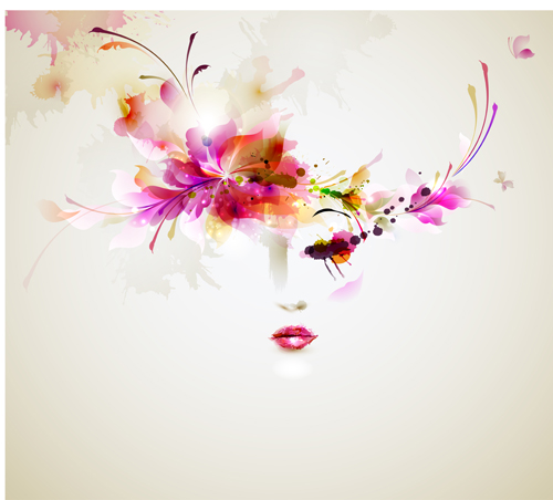500x452 Beautiful Women Face With Watercolor Flower Vector 01 Free Download