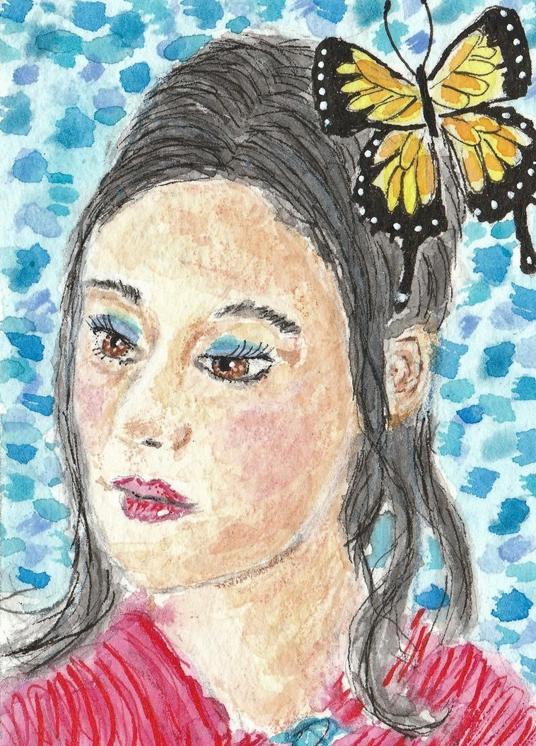 758x1055 Black Haired Woman Face Watercolor Aceo Painting By Tulipteardrops