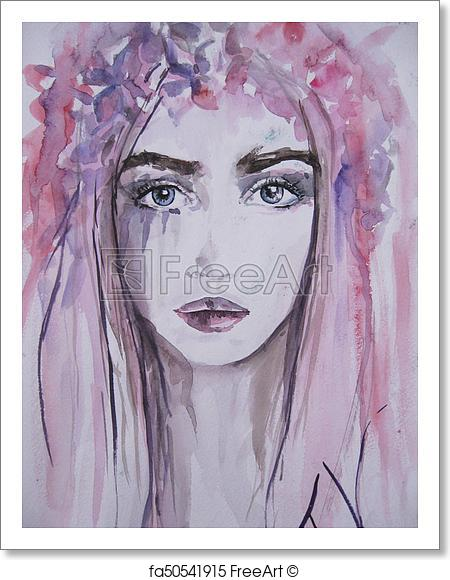 450x580 Free Art Print Of Woman Face Portrait. Abstract Watercolor. Woman