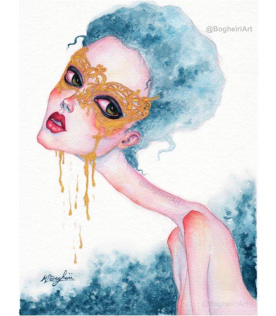 570x651 Sad Girl Art Low Brow Art Pop Surreal Art Fairytale Art Etsy