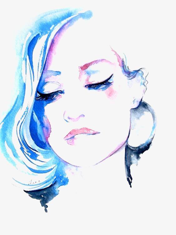 564x752 Watercolor Woman, Woman Clipart, Watercolor Clipart, Woman Face