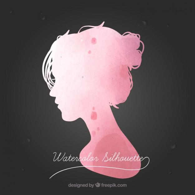 626x626 Watercolor Female Silhouette Vector Free Download