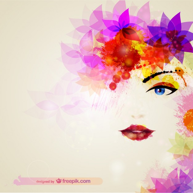 626x626 Watercolor Woman Face With Flowers In The Hair Vector Free Download