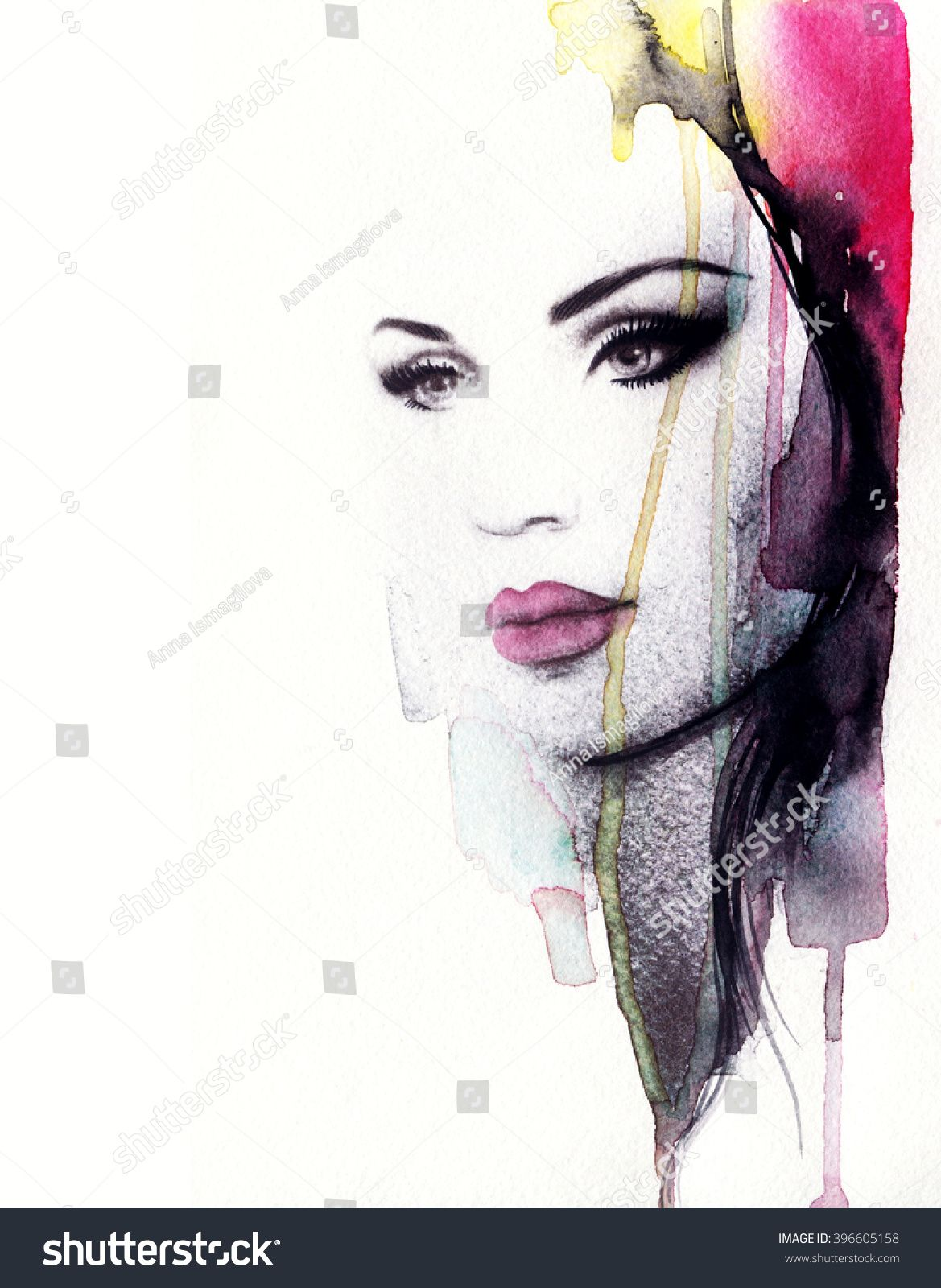 1169x1600 Abstract Fashion Watercolor Illustration. Beautiful Woman Face