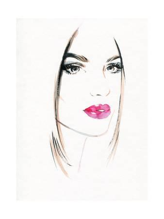 338x450 Woman Face.abstract Watercolor .fashion Background Art Print By