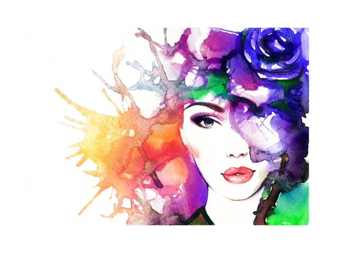 1100x826 Woman Face.abstract Watercolor .fashion Background Print Wall Art
