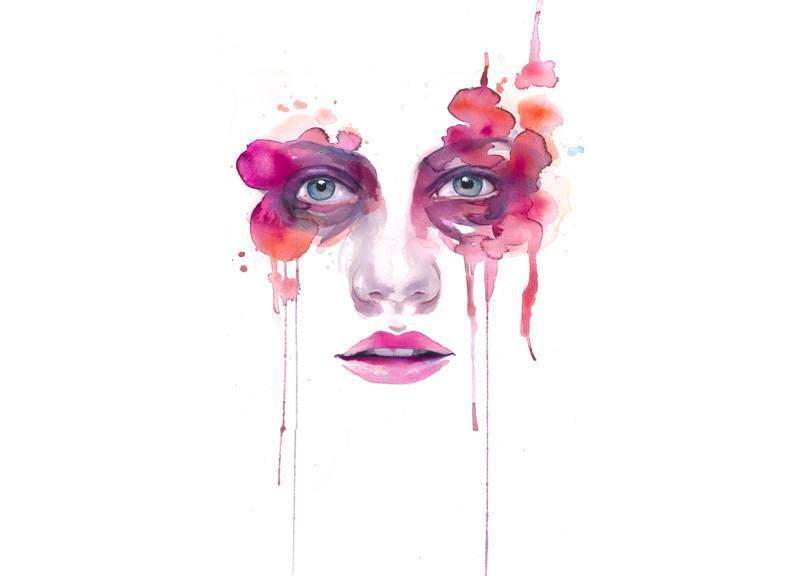792x576 Watercolor Painting Portrait Woman Face Feminine Pink Beautiful