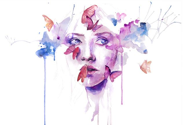 643x433 Watercolor Woman Portrait Face Drip Splash Splatter Ink Spill