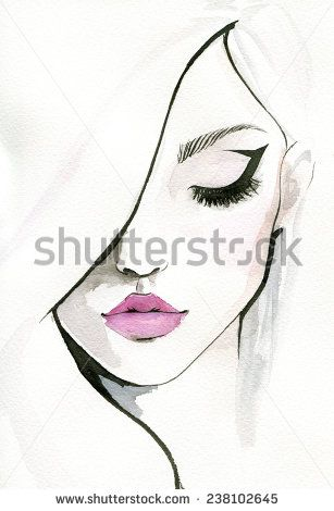 307x470 Watercolor Women Faces Black Eyes