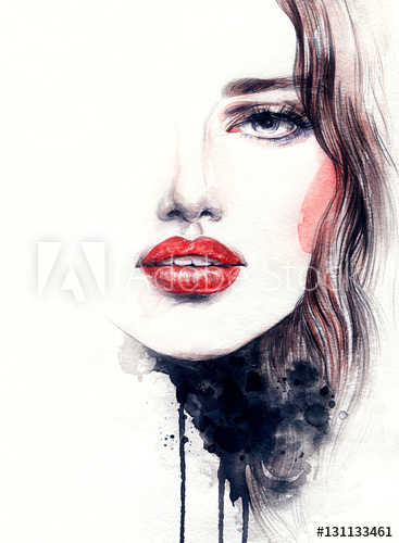 367x500 Abstract Woman Face. Fashion Illustration. Watercolor Painting