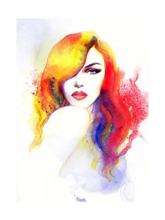 338x450 Beautiful Face. Woman Portrait. Abstract Watercolor .fashion