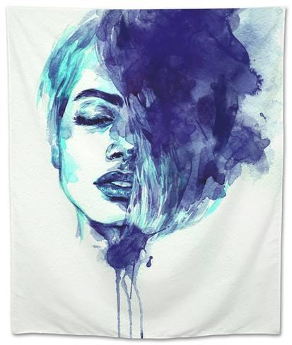 413x488 Beautiful Woman Face. Abstract Watercolor. Fashion Illustration