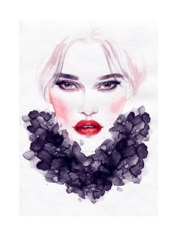 366x488 Beautiful Woman Face. Watercolor Illustration Posters By Anna