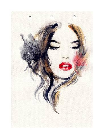 366x488 Beautiful Woman Face. Watercolor Illustration Prints By Anna