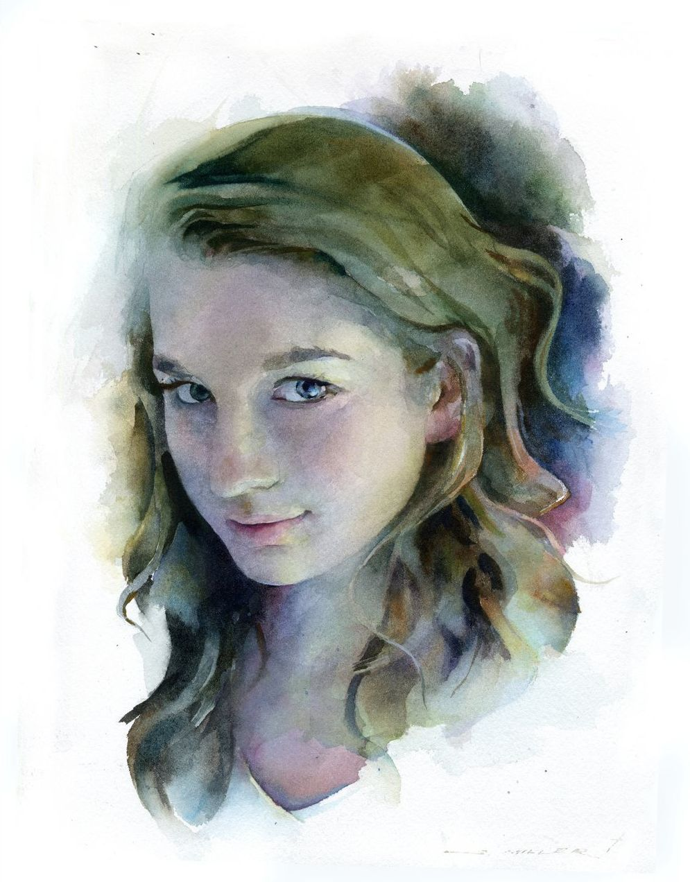 Watercolor Woman Painting