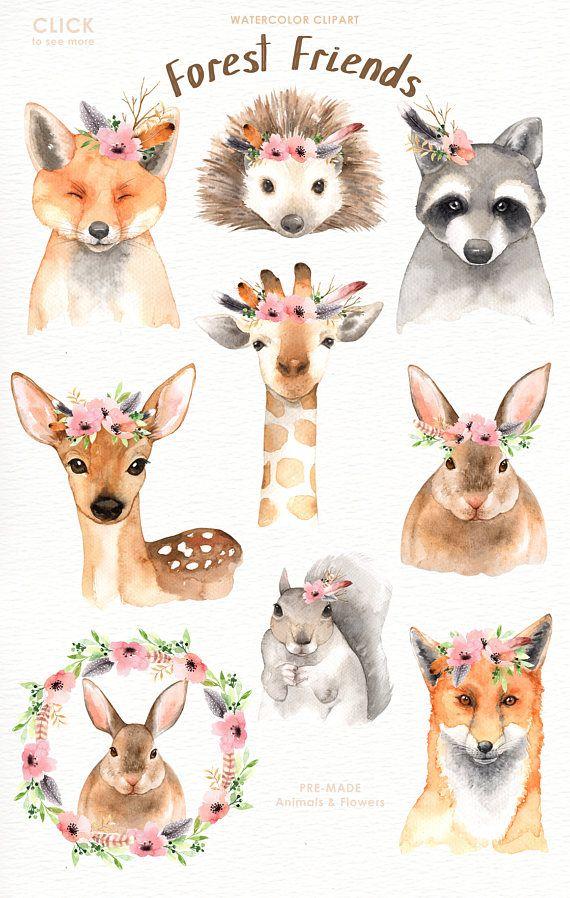 570x898 Forest Friends Watercolor Clip Art,woodland Animals, Kids Clipart