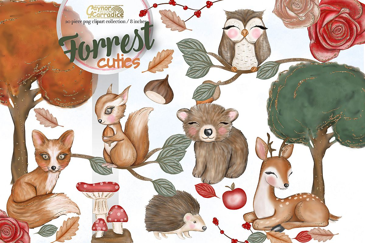 1200x800 Forrest Cuties, Woodland Animals Watercolor Clipart