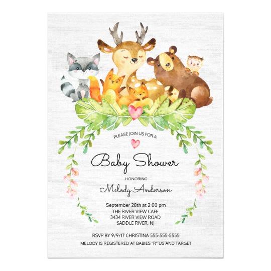 540x540 Sweet Woodland Animals Baby Shower Invitation
