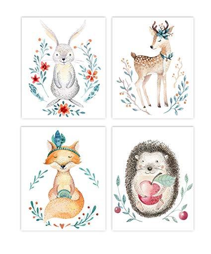 425x510 Holmkell Set Of 4 Nursery Woodland Animals Prints