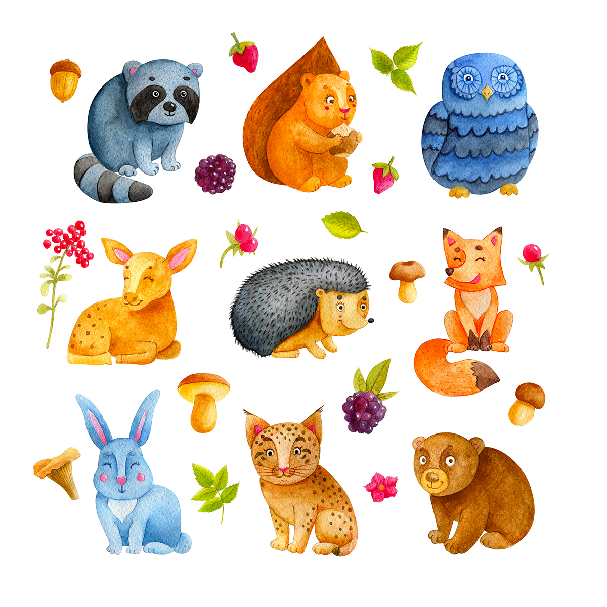 1200x1200 Watercolor Woodland Animals On Behance