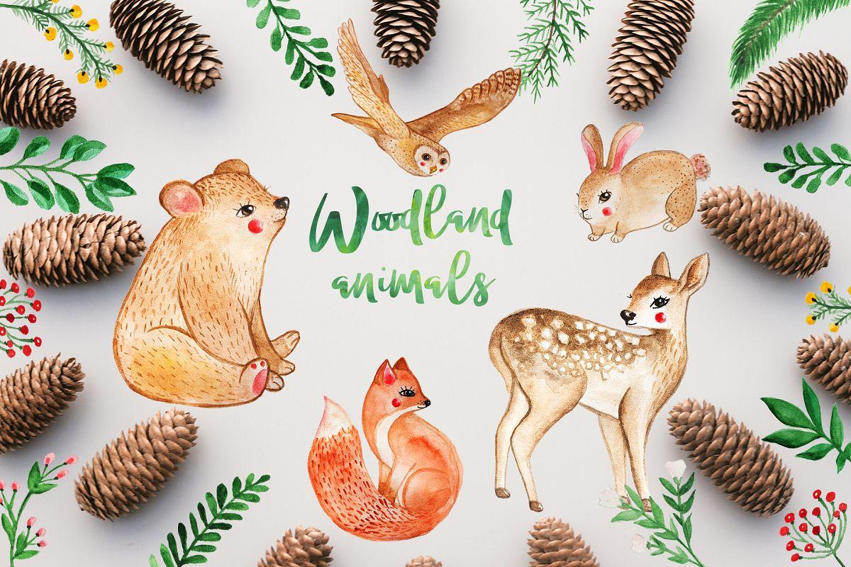 1200x800 Watercolor Woodland Animals