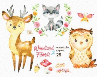 340x270 Watercolor Animals Etsy