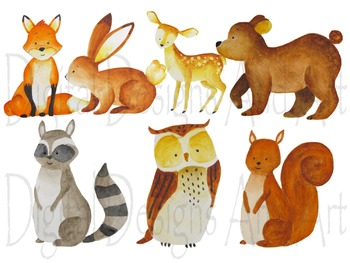 350x263 Watercolor Forest Animals Clipart, Woodland Animal Clipart