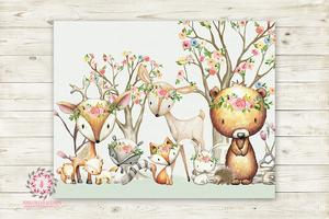 300x200 Woodland Animals Wall Art Print Boho Deer Bunny Fox Bear Hedgehog