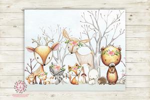 300x200 Woodland Animals Wall Art Print Boho Floral Deer Bunny Fox Bear