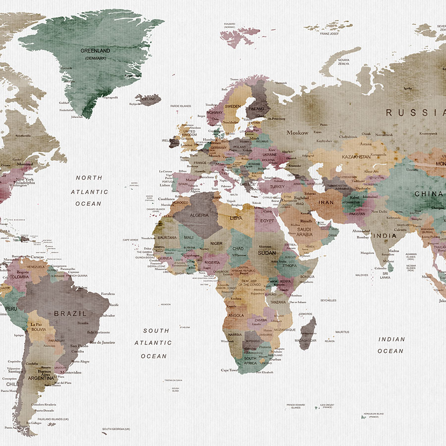900x900 Large World Map Watercolor Poster Mute Colors Artprintsvicky