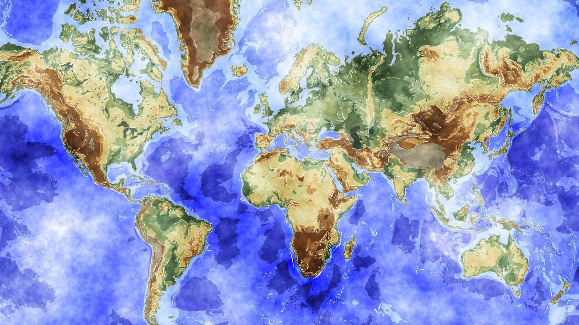 1920x1080 1920x1080 Maps, Watercolour, World Map, Watercolour World Map
