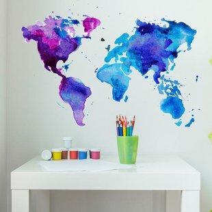 310x310 Watercolor World Map Wayfair