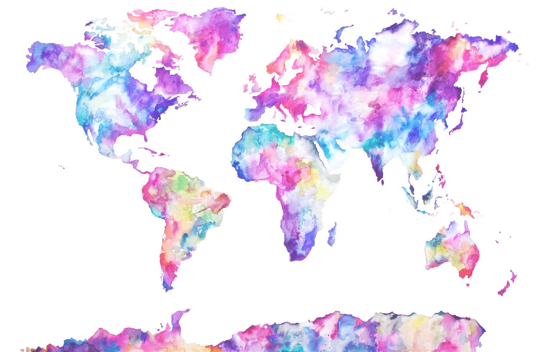 1500x979 Watercolor World Map Desktop Wallpaper