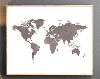 340x270 Watercolor World Map World Map Wall Art World Map Poster Blue Etsy