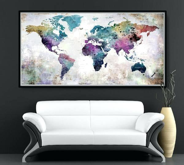 600x538 World Map Home Decor World Map Watercolor World Map Travel Map
