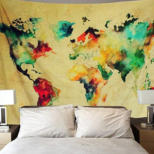 500x500 World Map Tapestry
