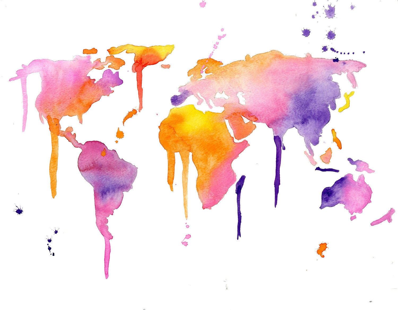 Watercolor World Map Wallpaper At Getdrawings Free Download