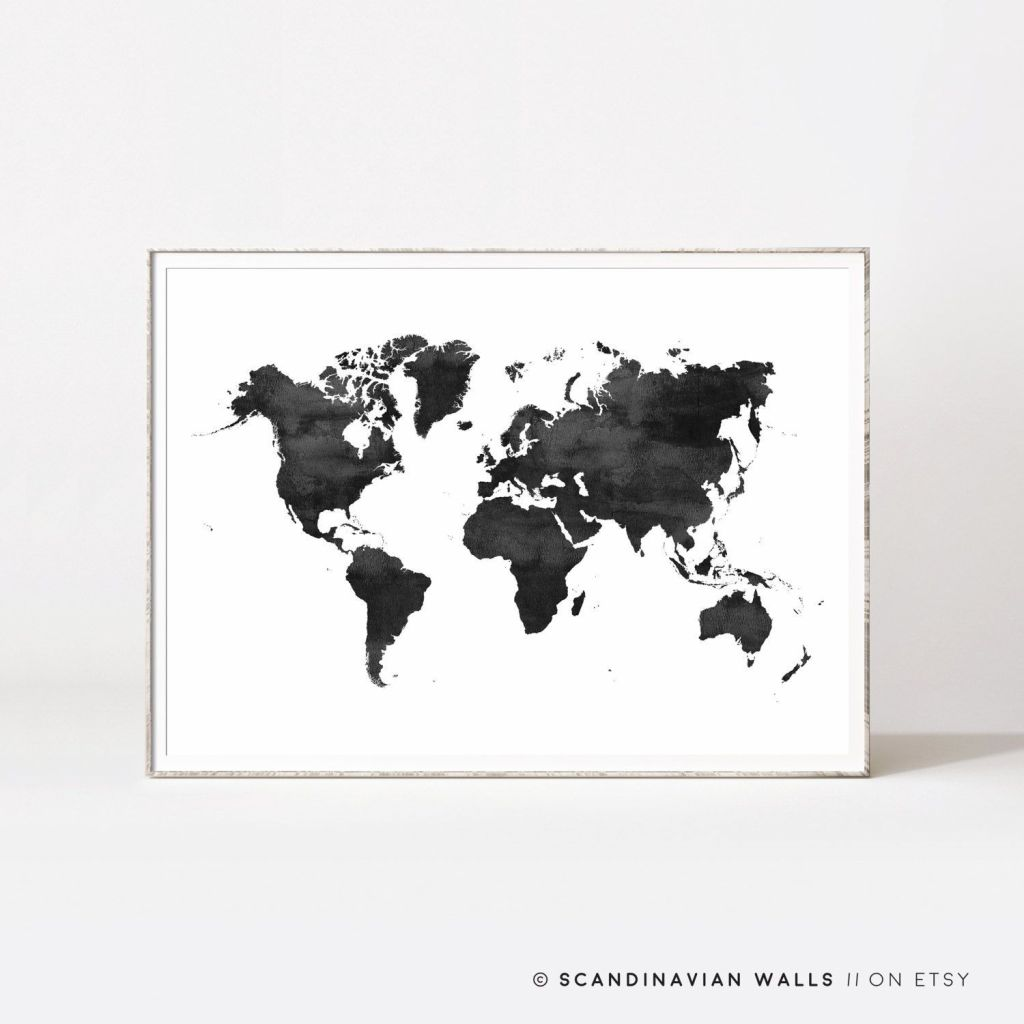 1024x1024 World Map Wallpaper ~ Print Watercolor World Map Poster Reference