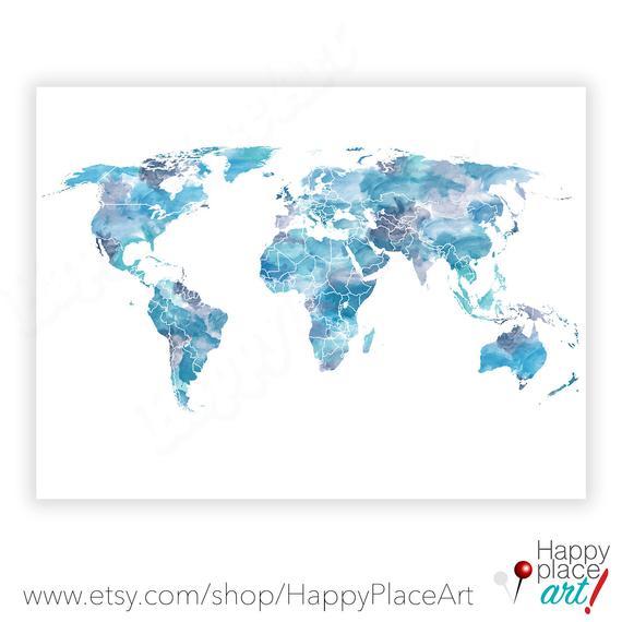 570x570 Blue White World Map Wallpaper Inclusive Installation