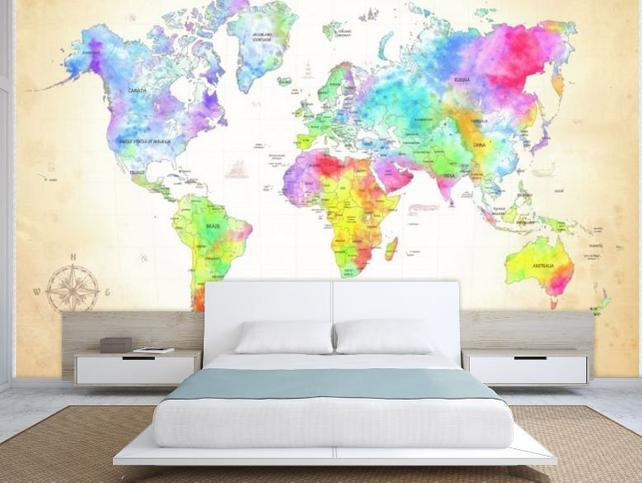 642x483 World Map Wall Mural Painting Map Wallpaper Colorful World Etsy