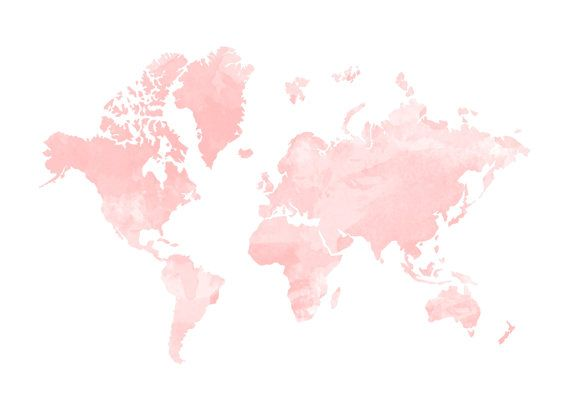 570x403 Blush Watercolour World Map Print Home By Hopelessromantics14