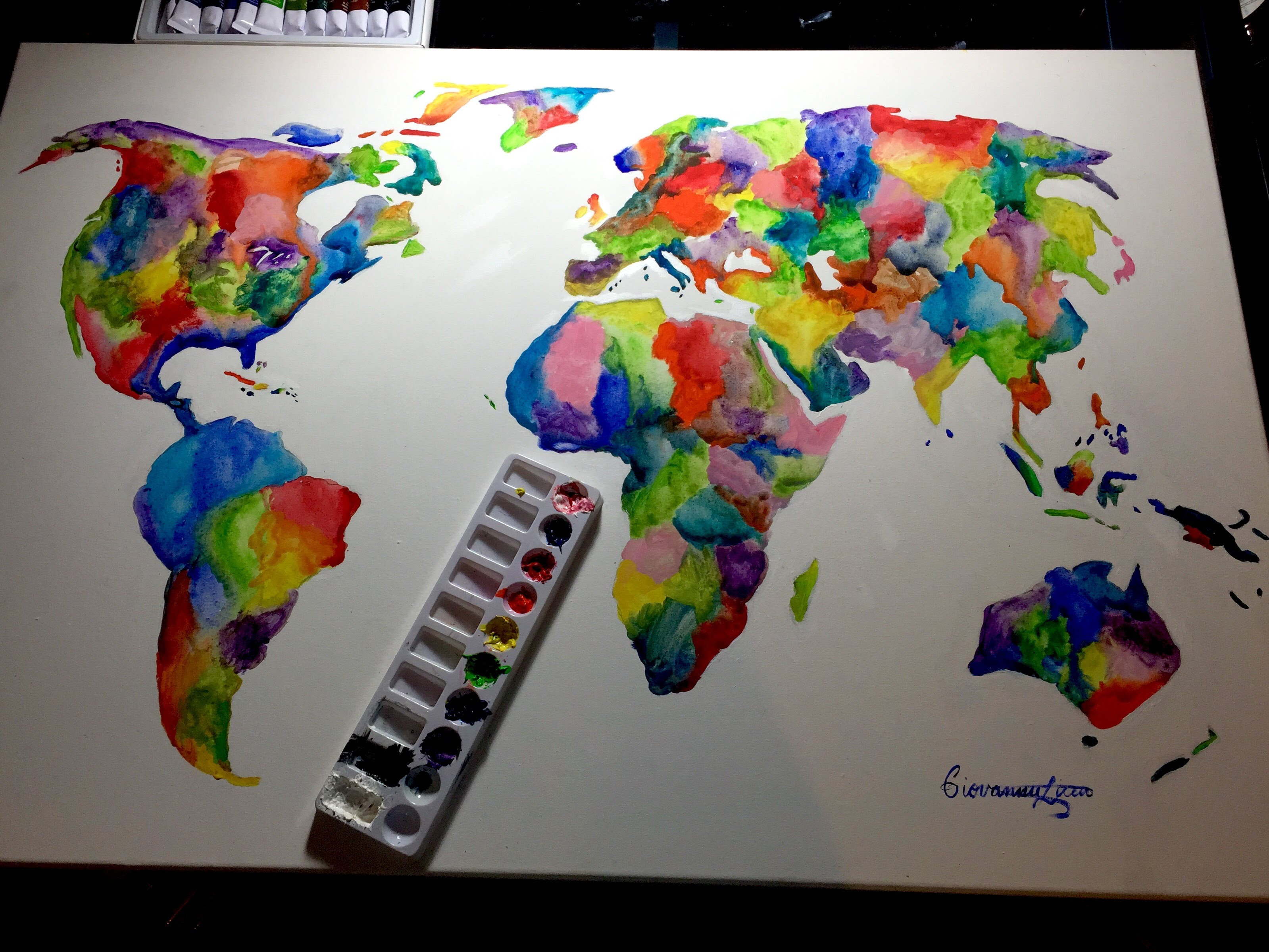 3198x2399 Colorful Watercolor World Map Painting