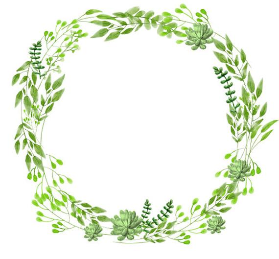 26b625ee21bc 570x529 Greenery Clipart Succulents Clipart Watercolor Wreath Etsy