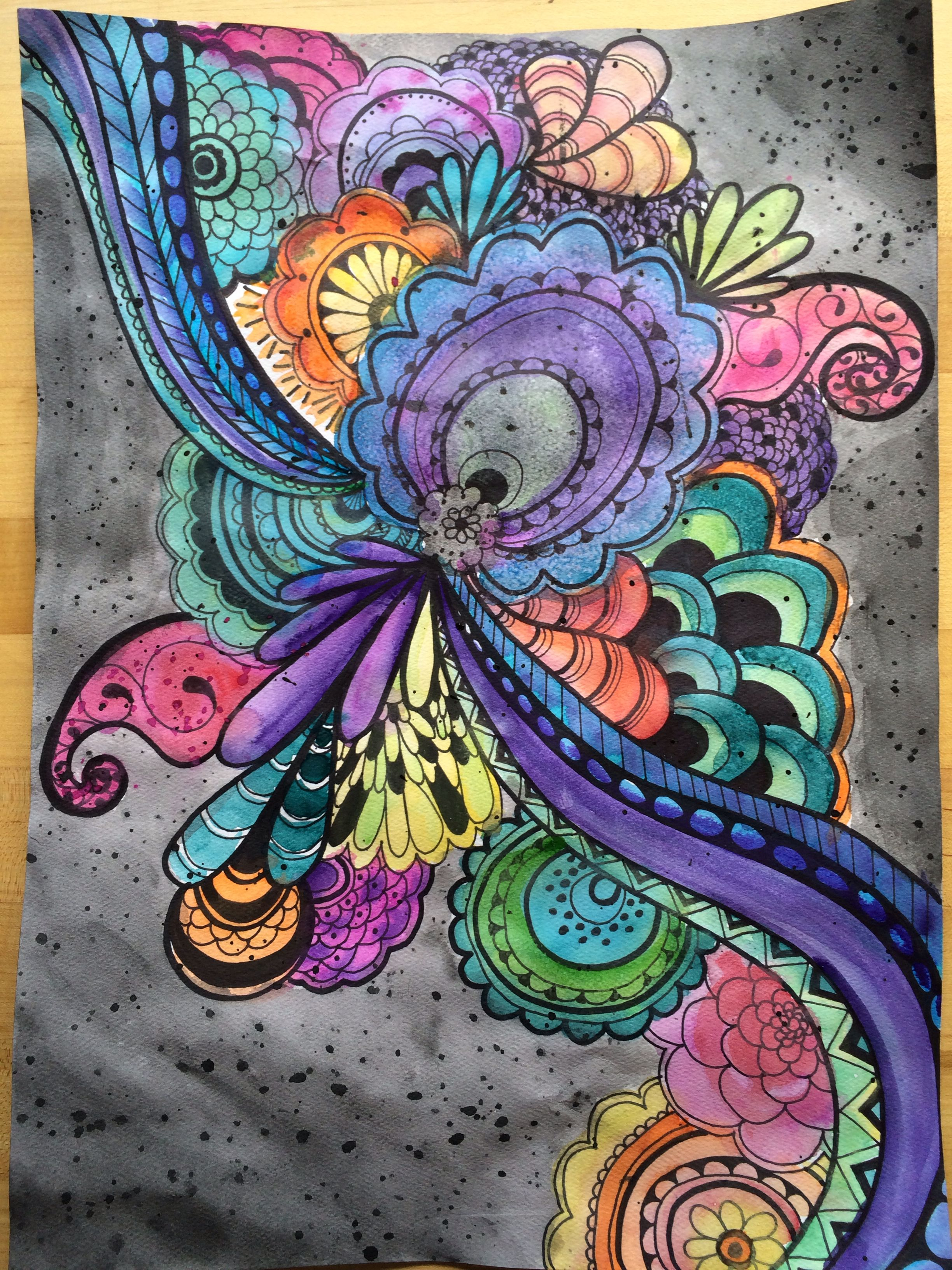 2448x3264 Zentangle Watercolor Project Class Painting Project Ideas
