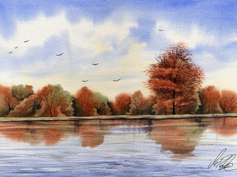 800x600 Watercolour Tutorial Painting An Autumn River Landscape Part 2