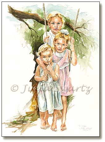 339x457 Figure Watercolor Painting Of Three Children On A Swing