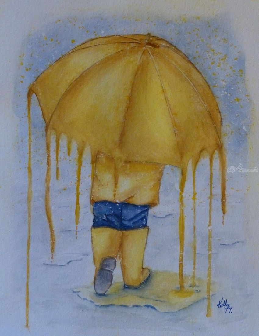 850x1100 Melting Umbrella Illustration, Paintings By Kelly Mills
